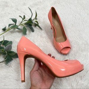 Antonio Melani open toed salmon pink high heel 9.5